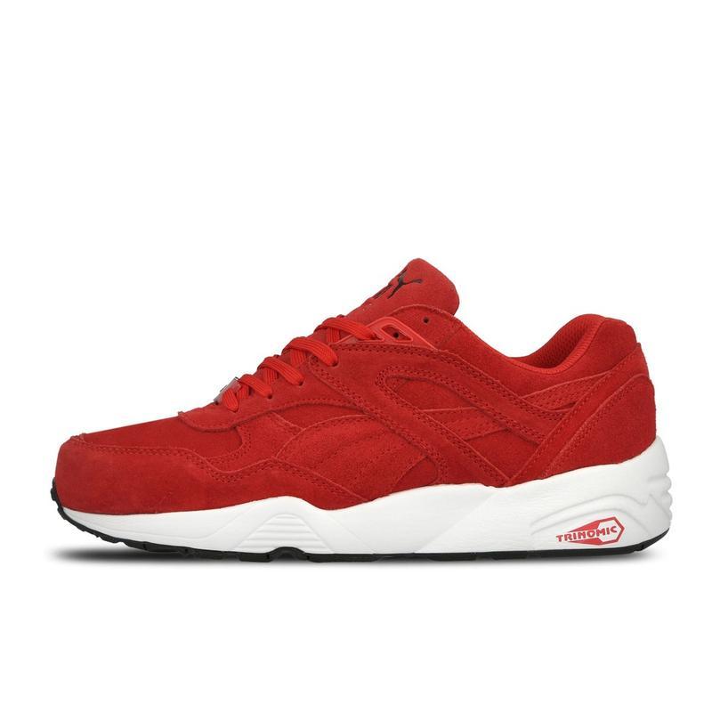 Замшевые крутые женские кроссовки puma trinomic red красные с белым white1  ... 04a75c3f212
