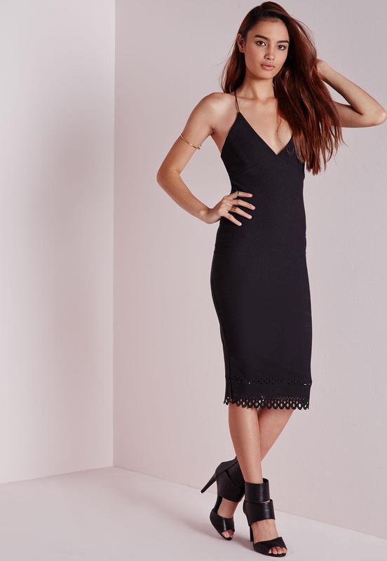 Элегантное вечернее платье миди с перфорацией Missguided fec8d7efdd9c3