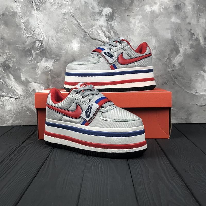2b204406 36 37 38 39 крутые женские кроссовки nike vandal 2k silver white grey на  платформе red1 ...