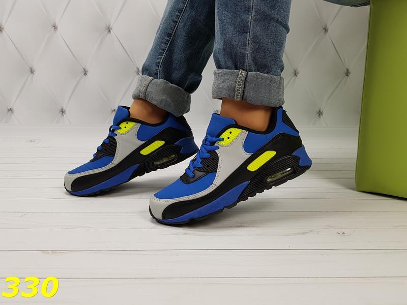 Демисезонные кроссовки аирмаксы из экокожи из польши яркие синие с желтым 36-411  ... 8da1f93f864