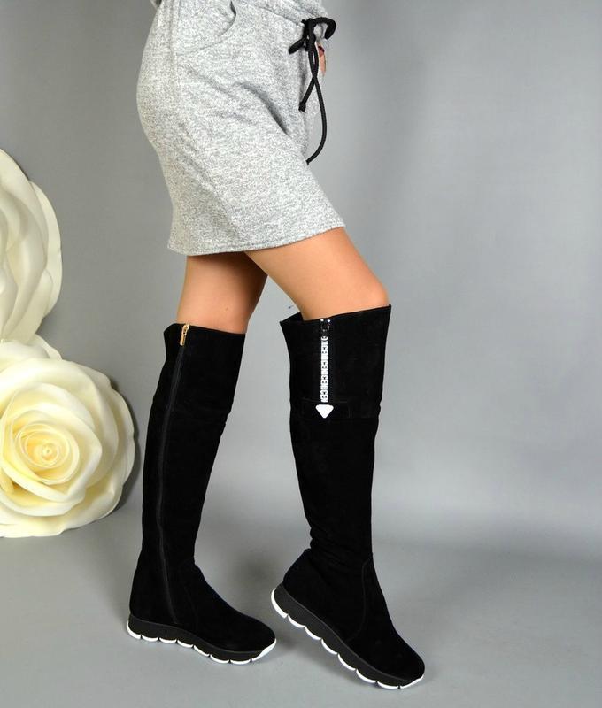 d4b0b3d83 36-41 рр зимние сапоги ботфорты черные натуральная замша, кожа, цена ...