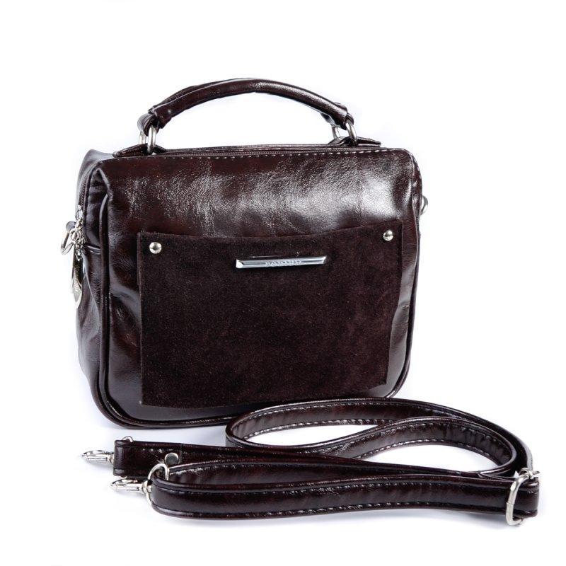 8b102ca0cc58 Коричневая маленькая сумка чемоданчик через плечо глянцевая с замшевой  вставкой1 фото ...