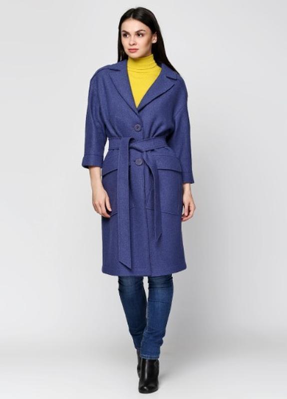 875916039cb Легкое пальто-пыльник 42-50р из вареной шерсти без подкладки синее ...