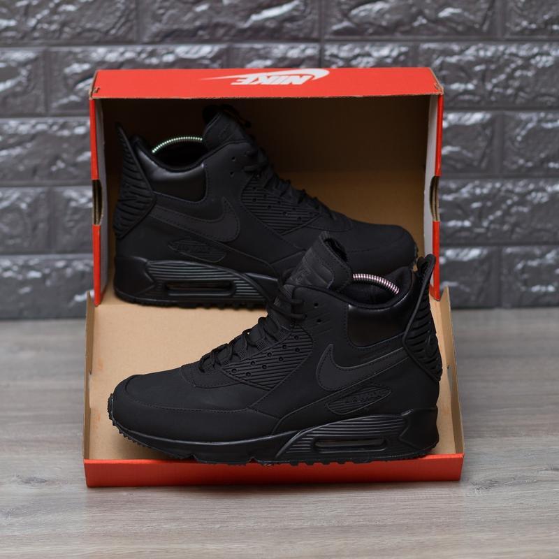 2d413542 ... 41 42 43 44 45 шикарные мужские кроссовки nike air max 90 sneakerboot  winter triple black5