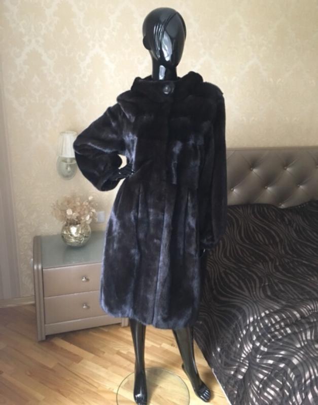Норковая шуба с капюшоном 95 см, баллон, кокон, kopenhagen 48-541 ... 70661a056a2