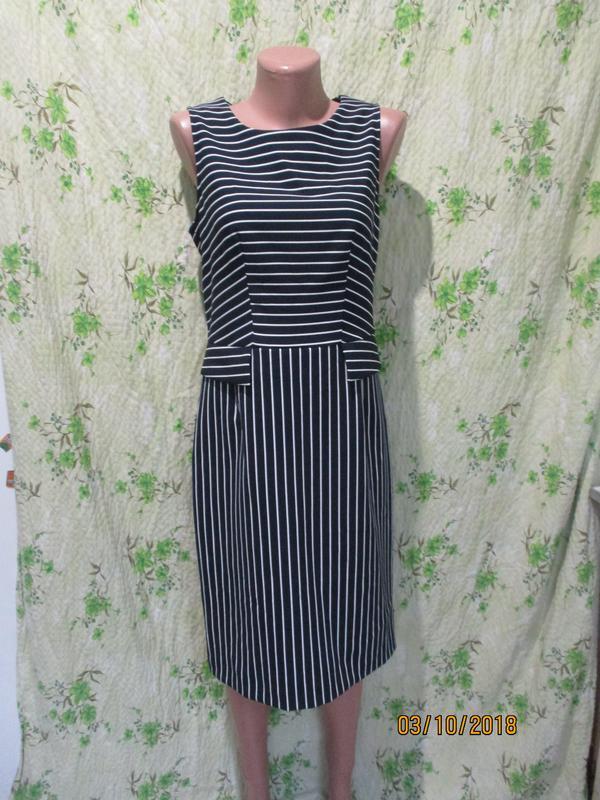 76e62b9a680 Чёрная пятница стильное платье в полоску платье футляр 10-12  44-46 ...