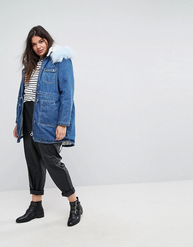 Джинсовая куртка с воротником и подкладкой из искусственного меха simply  be, размер 301 ... d7ab340b5e7