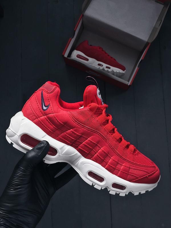 59e65482 36 37 38 39 40 шикарные женские кроссовки nike air max 95 red white красные  с ...