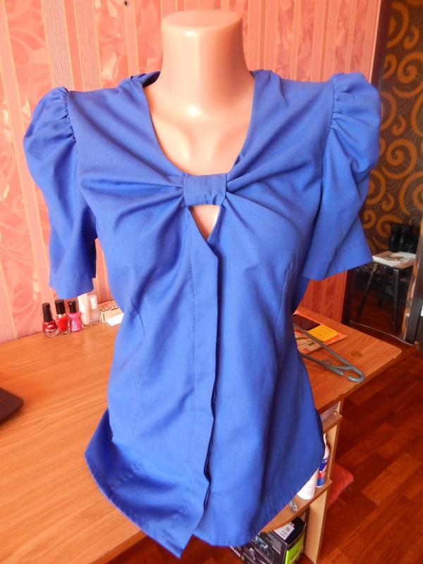 bec53c7a5a5 Синяя блузка рукава фонарики1 фото ...