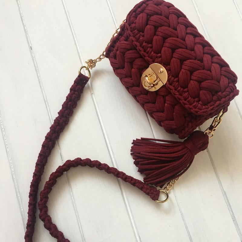 сумка зефирка марсала тренд кроссбоди Hand Made цена 750 грн