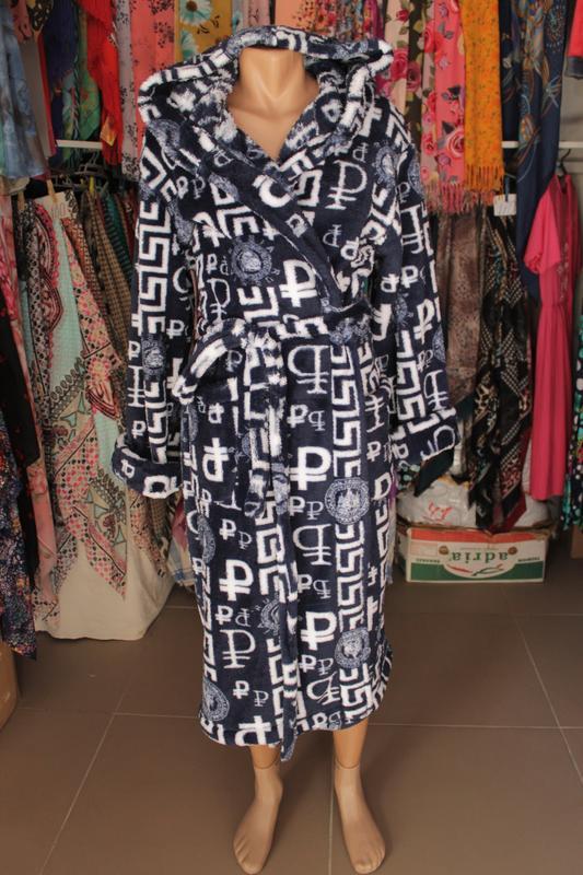 acfc858cbba Длинный махровый мужской халат на запах с капюшоном1 фото ...