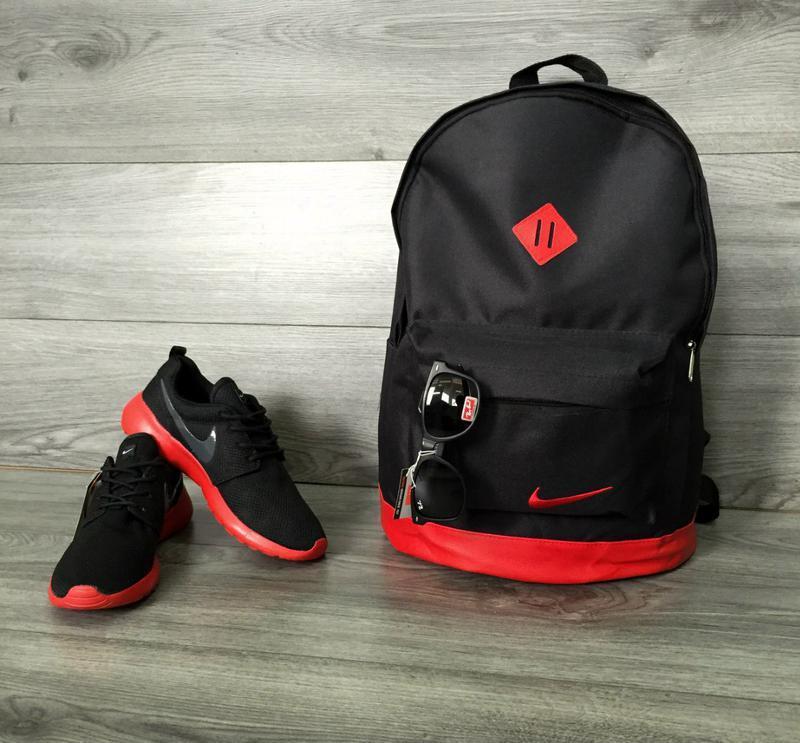 e7c725092946 Рюкзак городской, спортивный, кожаное дно, сумка для ноутбука  чёрный-красный1 фото