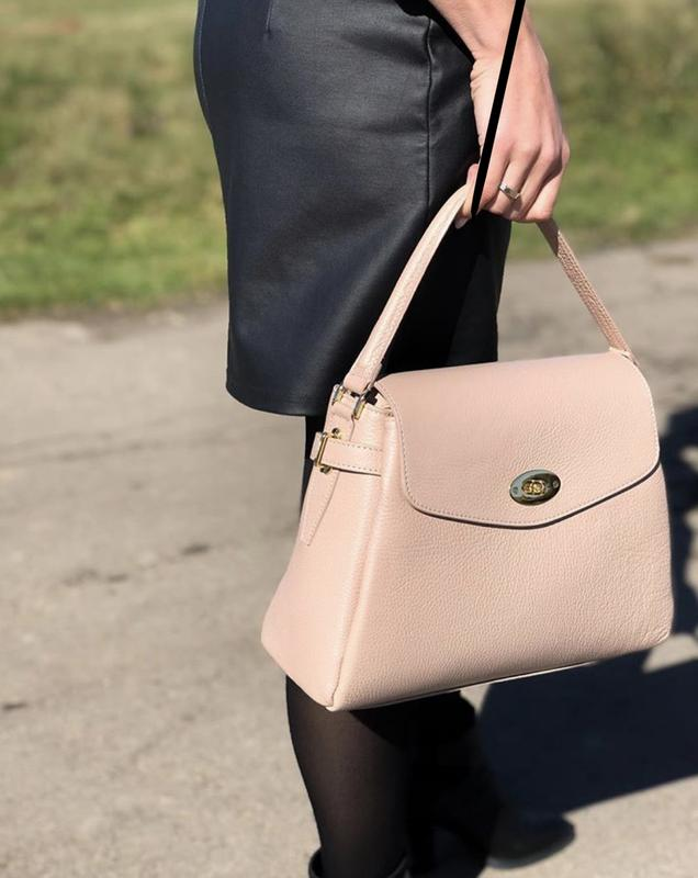 Шикарна шкіряна сумка пудра Италия ecd751e14e368