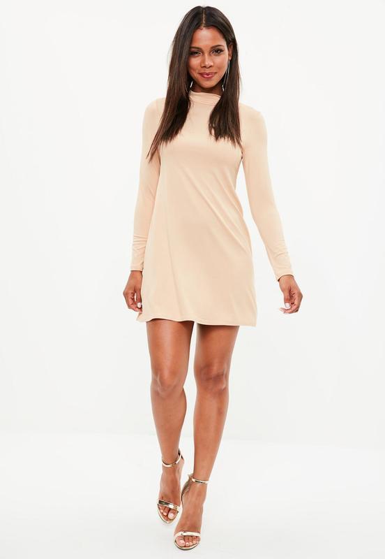 7fcf0e037a7 Нежно-розовое платье с длинным рукавом Missguided