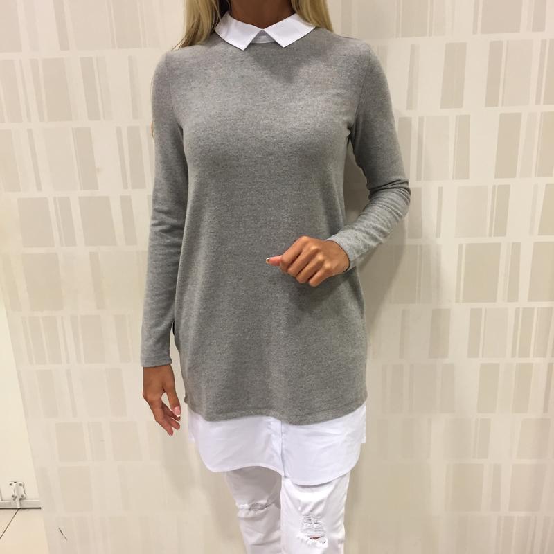 48c5de334df Флисовая кофта с вставками рубашки лёгкий серый свитер туника. mohito.  размеры уточняйте.1 ...