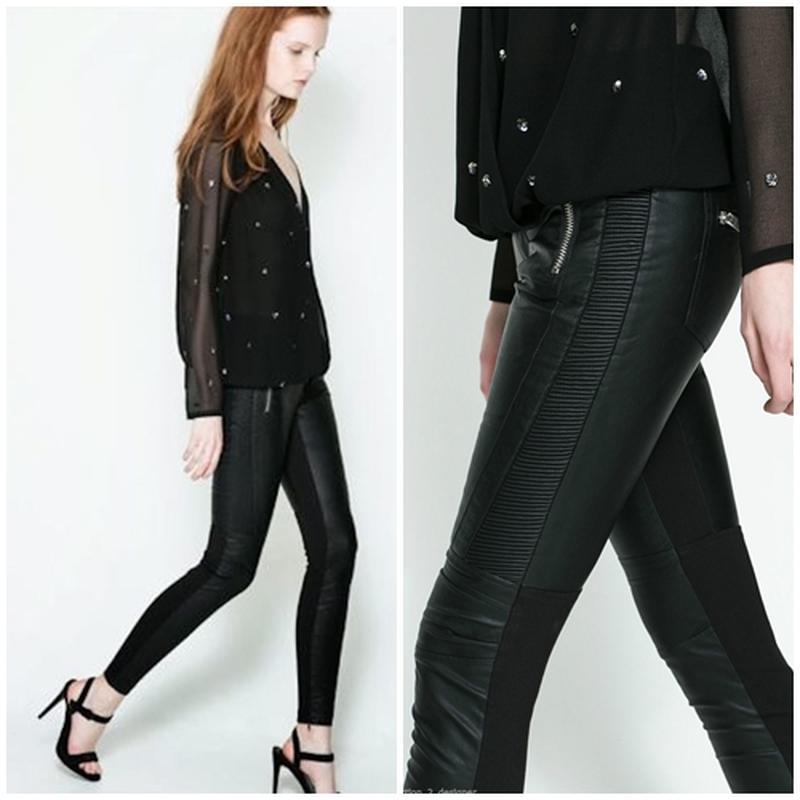 21c540beefe2 Xs/s новые байкерские плотные брюки под кожу кожаные комбинированные брюки  zara (ZARA) ...