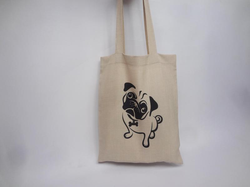 c8029b21a895 Эко-сумка с мопсом, сумка-шоппер, тканевая сумка, авоська, цена ...