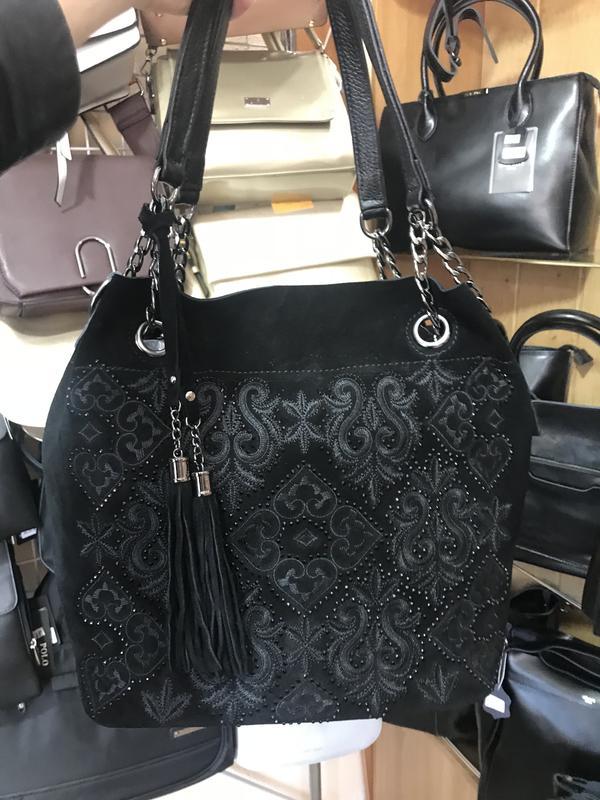 f6286cc6554d Замшевая сумка-мешок со стразами, цена - 1350 грн, #16613504, купить ...