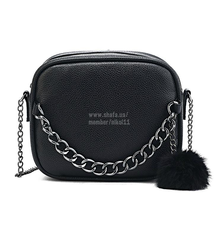 baa69a5f9b4d Стильная черная сумка кроссбоди с цепью на длинном ремешке через плечо с  мех помпоном1 фото ...