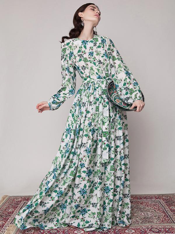 79a05d6ba621 Белое дизайнерское макси платье в пол с зелеными и голубыми цветами anna  yakovenko mh-61721 ...