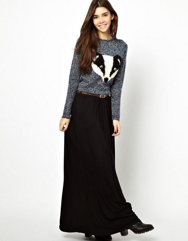 848b2c11964 Чёрная трикотажная юбка макси с поясом