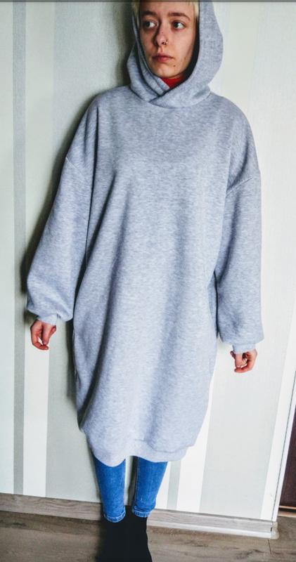 Клевая серая толстовка платье оверсайз с капюшоном1 ... 85f953bc917ee