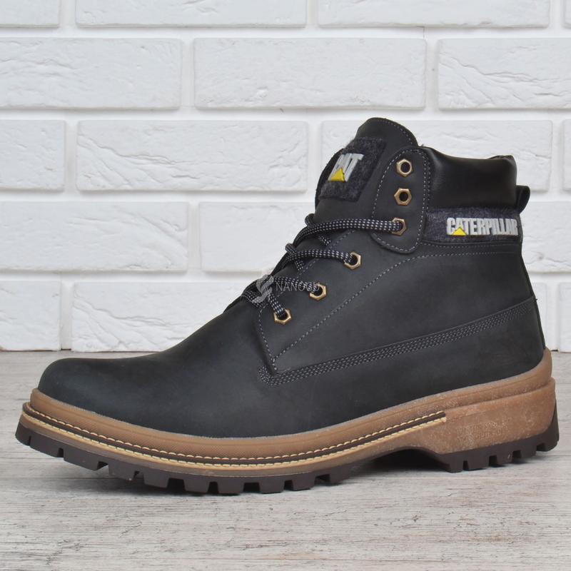 1c4c2547 Ботинки cat caterpillar кожаные натуральный мех мужские зимние black1 фото  ...
