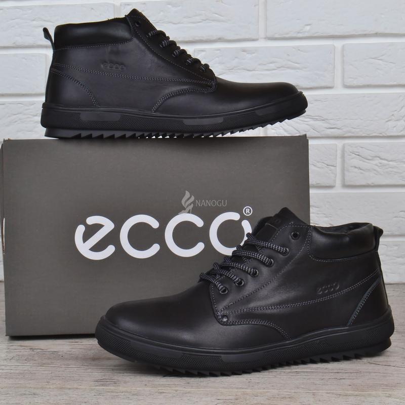 Ботинки мужские кожаные зимние ecco черные натуральный мех1 ... cd485b56fc283