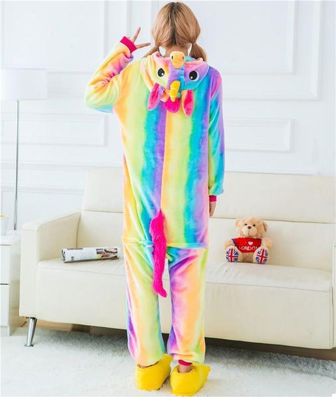 Скидка пижама женская домашняя одежда кигуруми радужный единорог1 ... 7bca6ca12b842