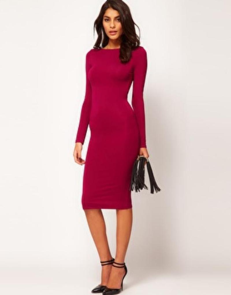 d7e5f213bc6 Облегающее платье миди с квадратным вырезом на спине asos - ягодный   461  фото ...