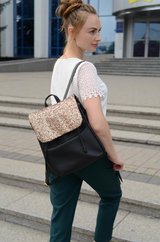 83e0c263e846 Дизайнерский женский рюкзак чёрный с экокожи для ноутбука, учебы, прогулок1  фото ...