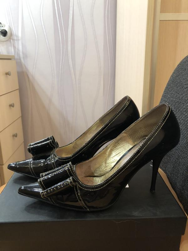 fbc68649f Туфли туфельки лодочки кожа кожанные бантик удобная шпилька черные  нарядные1 фото ...