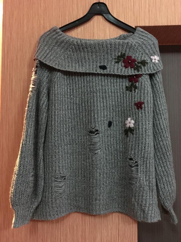вязаный свитер свитер с рваностямисвитер с вышивкойсвитер с