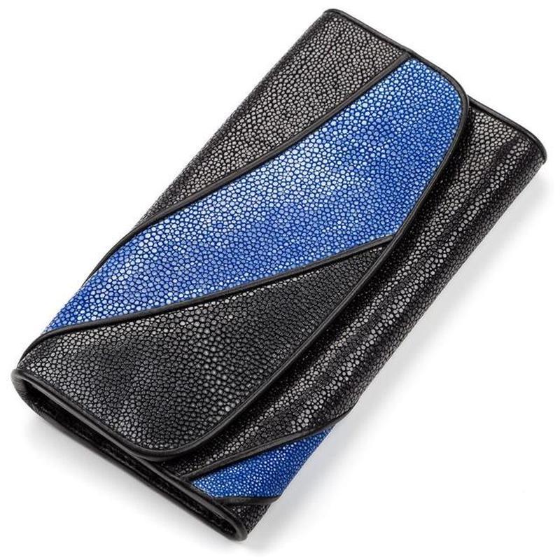 308d315af5e2 Кошелек женский stingray leather 18115 из натуральной кожи морского ската  черный1 фото ...