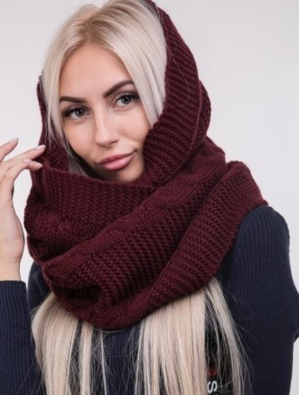 теплый вязаный теплий вязаний практичный шарф хомут снуд с косами