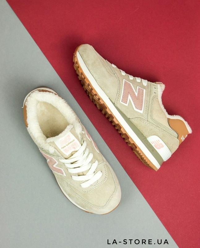 Шикарные женские зимние кроссовки new balance 574 beige  pink (36-41 ... 290edd2b8d8