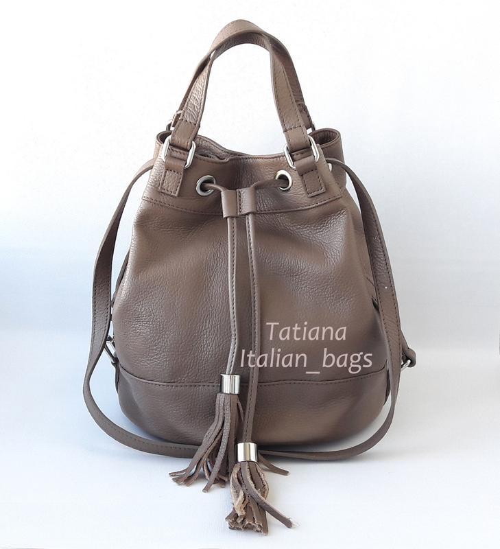 09f862a7cffa Модная кожаная сумка рюкзак на шнурке - bucket bag, цвет тауп. италия.1 ...