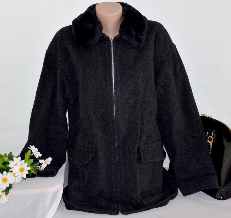 9df6f40c773 Брендовое темно-серое шерстяное демисезонное пальто на молнии с меховым  воротником bhs1 фото ...