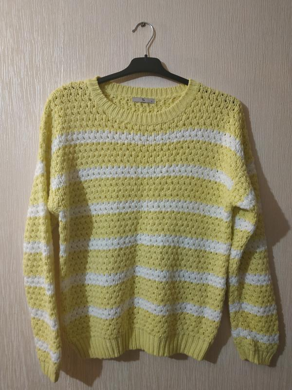 классный вязаный желтый полосатый пуловер свитер Tu размер 12 L Tu