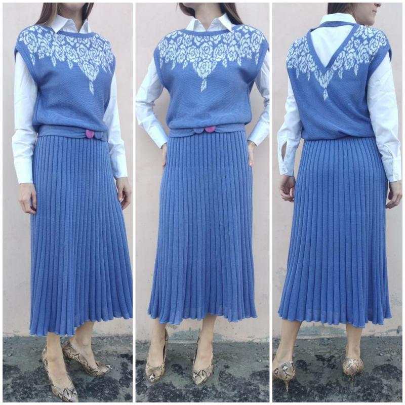 4f003c92fbb Винтажное трикотажное платье с юбкой плиссе.италия!1 фото ...