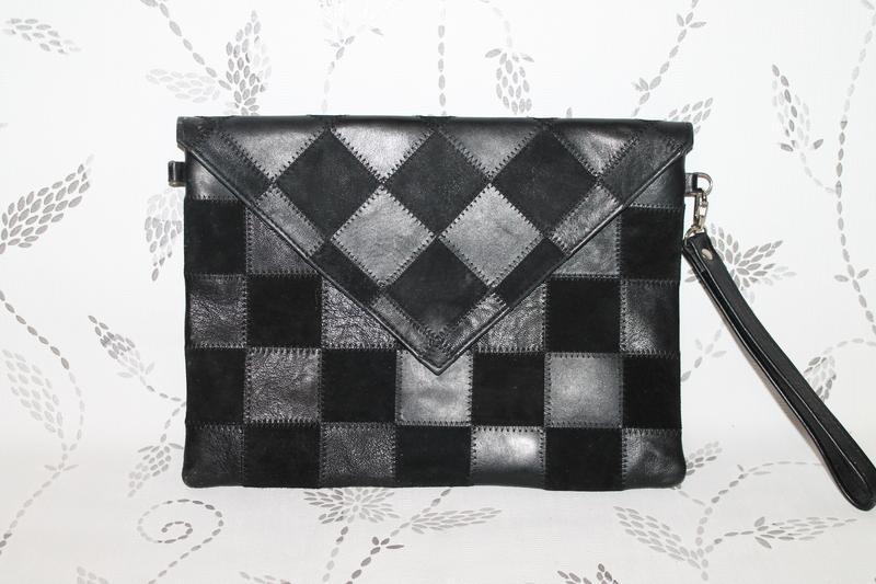 e858f2ec4a61 Большой кожаный клатч конверт в стиле пэчворк, цена - 370 грн ...