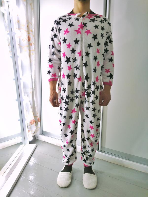 Теплое махровое кигуруми комбинизон слип пижама в звездах №60 Love ... cc4420f555e05