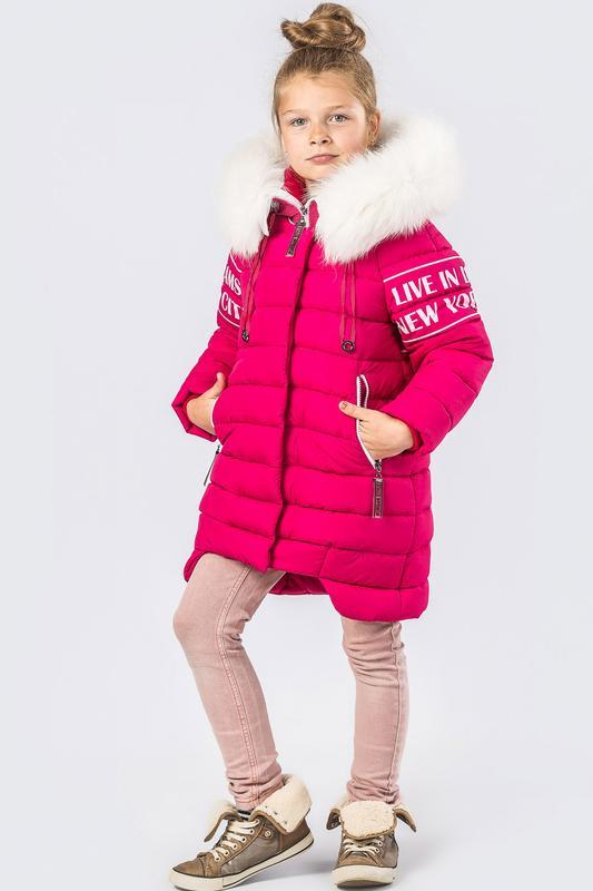 789df699443 Зимнее пальто для девочки с натуральным мехом x-woyz dt 8261 140-164  размер1 ...