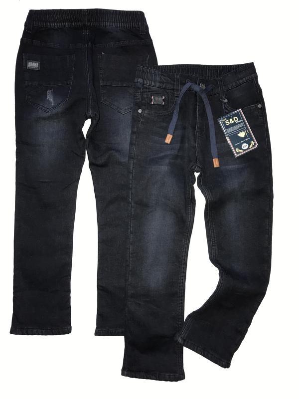 548b0684d88 Утеплённые чёрные джинсы на флисе р. 134-176