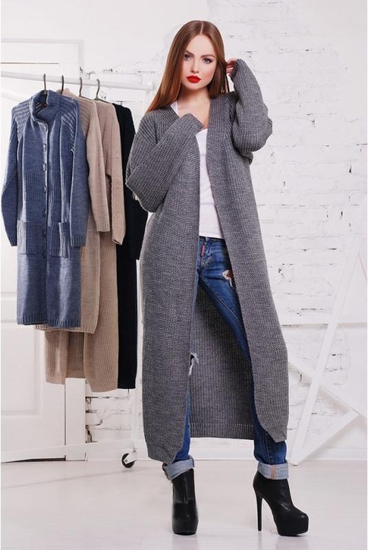 актуальное женское вязаное пальто кардиган Oversize цена 890 грн