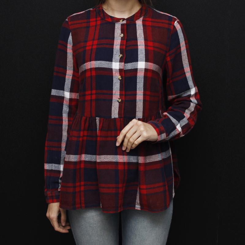 389250657b1 Фланелевая шерстяная рубашка в клетку с оборкой баской falmer1 фото ...