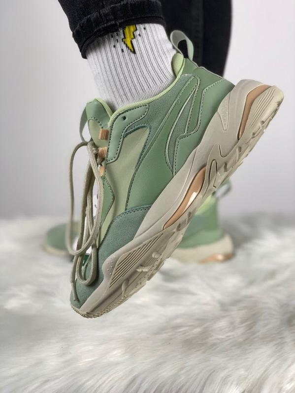 Шикарные женские кроссовки puma thunder desert (smoke green   silver green)1  ... cf112bb52