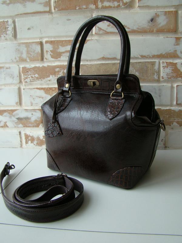867e62ca3d31 Шикарная кожаная женская сумка-саквояж /коричневая сумка/ женская сумка/1  фото ...