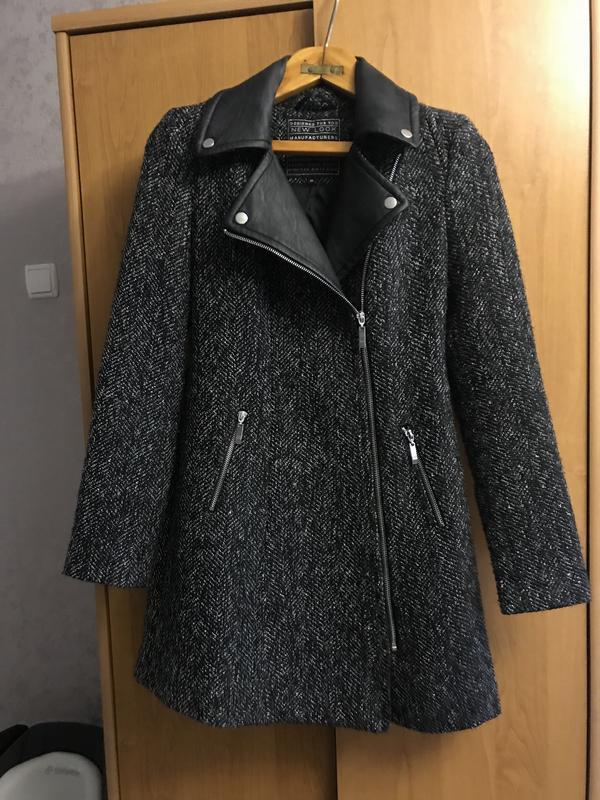 Демисезонное женское пальто твид new look с кожаными вставками размер с-м1  ... 67aad8821db75