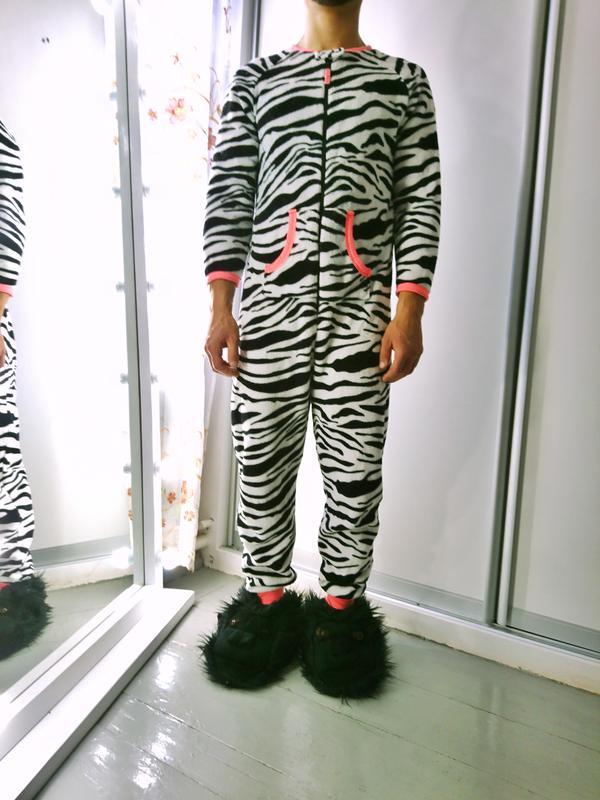 Теплое флисовая кигуруми комбинизон слип пижама зебра №9 Love To ... 49f72fcbe4125